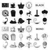 Значки парка атракционов черные в собрании комплекта для дизайна Оборудование и привлекательности vector иллюстрация сети запаса  иллюстрация штока