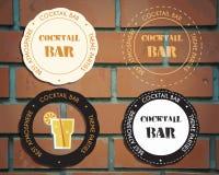 Значки партии коктеиля салона и шаблоны логотипа Стоковое Изображение RF