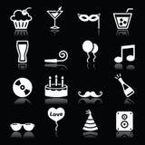Значки партии установили - день рождения, Новый Год, рождество на черноте Стоковое Изображение RF