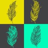 Значки пера Комплект шаблонов вектора дизайна логотипа Стоковое Изображение