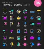 Значки перемещения, туризма и погоды, комплект 2 Стоковые Фото