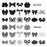 Значки пестротканых смычков черные в собрании комплекта для дизайна Обхватывайте для иллюстрации сети запаса символа вектора укра иллюстрация вектора
