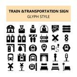 Значки пиксела знака транспорта поезда идеальные установили в стиль твердого тела и плана иллюстрация штока