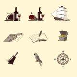 Значки пирата: корабль, сундук с сокровищами, компас иллюстрация вектора