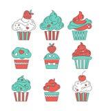 Значки пирожных плоские на предпосылке Стоковые Фотографии RF
