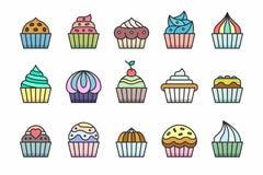Значки пирожных Стоковое Фото