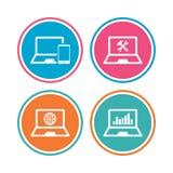 Значки ПК компьтер-книжки тетради Отремонтируйте обслуживание починки Стоковое Изображение