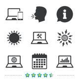 Значки ПК компьтер-книжки тетради Отремонтируйте обслуживание починки Стоковое Фото