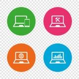 Значки ПК компьтер-книжки тетради Отремонтируйте обслуживание починки Стоковая Фотография RF
