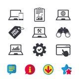 Значки ПК компьтер-книжки тетради Отремонтируйте обслуживание починки Стоковое фото RF
