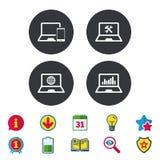 Значки ПК компьтер-книжки тетради Отремонтируйте обслуживание починки Стоковые Фото