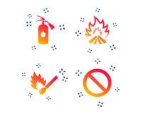 Значки пламени огня Символ стопа запрета r иллюстрация вектора