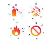 Значки пламени огня Символ стопа запрета r бесплатная иллюстрация