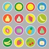 Значки плодоовощей, ягод и овощей шаржа, ярлыки Стоковые Изображения RF
