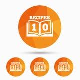 Значки поваренной книги Знак книги двадцать пять рецептов Стоковые Фото