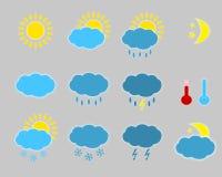 Значки погоды - комплект. Стоковые Фото