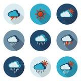 Значки погоды плоские в формате вектора Стоковое Фото
