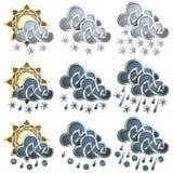 Значки погоды - 2 Стоковое Фото