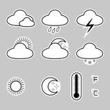 Значки показывают погоду на серой предпосылке Стоковые Изображения