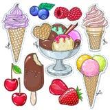 Значки покрасили десерт, мороженое, мороженое в чашке waffle и различные ягоды бесплатная иллюстрация