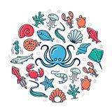 Значки покрашенные морепродуктами в идее проекта круга Иллюстрация для представлений на белой предпосылке стоковые фотографии rf