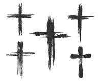 Значки покрашенные щеткой перекрестные Стоковое Изображение
