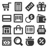 Значки покупок супермаркета установили на белую предпосылку вектор бесплатная иллюстрация