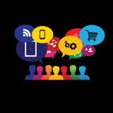 Значки потребителей или потребителей онлайн в социальных средствах массовой информации, ходя по магазинам - v иллюстрация вектора
