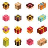 Значки подарка и присутствующие коробки в isomertic стиле бесплатная иллюстрация