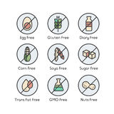 Значки предупреждающего ярлыка ингридиента Аллергены клейковина, лактоза, соя, мозоль, дневник, молоко, сахар, сало Trans Вегетар Стоковое Фото