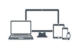 Значки прибора: настольный компьютер, компьтер-книжка, умный телефон, таблетка и умный вахта Стоковое фото RF