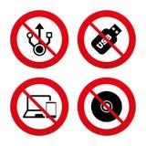 Значки привода вспышки Usb ПК тетради или компьтер-книжки Стоковые Фотографии RF