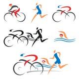 Значки пригодности триатлона задействуя Стоковые Фото