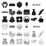 Значки призрения и пожертвования черные в собрании комплекта для дизайна Иллюстрация сети запаса символа вектора материальной пом бесплатная иллюстрация