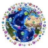 Значки применения вокруг земли Стоковая Фотография RF