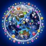 Значки применения вокруг земли Стоковое Изображение