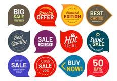 Значки продажи качественные Вокруг значка ярлыка 100 процентов уверенного Набор значков иллюстрации вектора стикера бесплатная иллюстрация