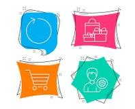 Значки продажи петли, покупок и рынка Знак поддержки Освежите, пакеты праздника, приобретение клиента Редактируйте профиль иллюстрация штока