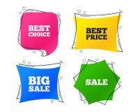 Значки продажи Самый лучший выбор, символы цены вектор иллюстрация штока