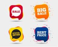 Значки продажи Символы пузырей речи специального предложения Стоковое фото RF