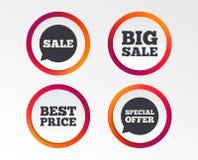 Значки продажи Символы пузырей речи специального предложения Стоковые Фото