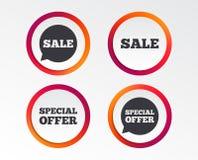 Значки продажи Символы пузырей речи специального предложения Стоковое Фото