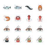 Значки продукта моря Стоковое Изображение