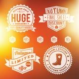 Значки продажи осени винтажные установленные с конспектом Стоковые Изображения