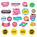 Значки продажи Символы пузырей речи специального предложения Стоковое Изображение