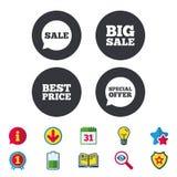 Значки продажи Символы пузырей речи специального предложения Стоковые Изображения RF