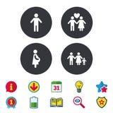 Значки продолжительности жизни семьи Влюбленность и беременность пар Стоковые Фото
