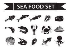 Значки продукта моря установили вектор, силуэт, стиль тени Собрание морепродуктов изолированное на белой предпосылке Рыбные проду бесплатная иллюстрация