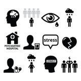 Значки психических здоровий - депрессия, наркомания, концепция одиночества Стоковое Изображение