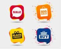 Значки пузыря речи продажи Купите символ тележки Стоковая Фотография RF